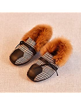 HGTYU-El nuevo invierno zapatos de cuero amarillo de felpa verdadera princesa de cabello versión coreana de zapatos...