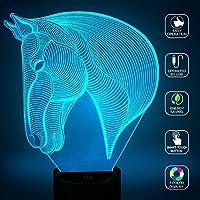 Illusion 3d lampada Jawell luce di notte animali, egymcom stupefacente 7 Modifica dei colori touch acrilico pulsante Table Desk luce di notte con cavo USB della decorazione della casa 150 centimetri (Horse Head)