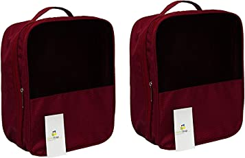 HomeStrap Travel Shoe Pouch/Bag - Store Upto 3 Pair of Footwear - Red