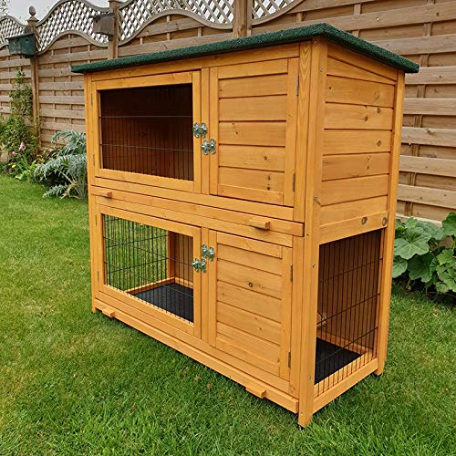 FeelGoodUK small animal barn on 2 levels, suitable for rabbits and guinea pigs, with free cover and feet elevated, 1.2 ° m - 2