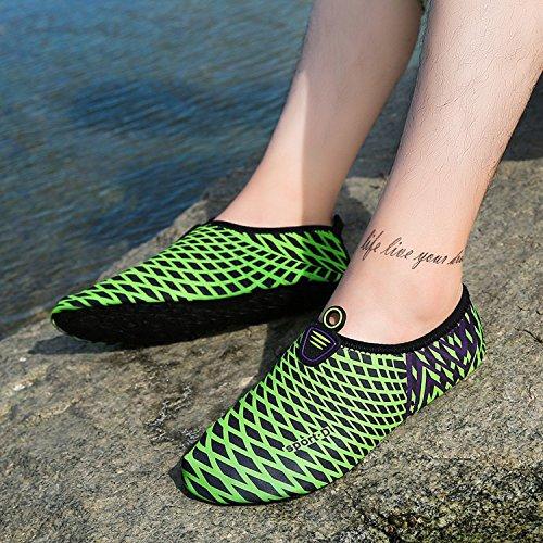 Moderno Pattini a piedi nudi Traspirante Scarpe Aqua Pattini dell'acqua Scarpe da spiaggia Conveniente Morbido Pantofole da bagno Scarpe da spiaggia Disegno a strisce Asciugatura rapida uomo donna Verde