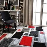 Alfombra para salón de color gris plateado y rojo y negro geométrico para muebles de hogar, accesorios para...