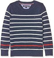 Tommy Hilfiger Boy's Stripe Cn Sweater L/s Jumper, Blue (Estate Blue Heather), 152 (Manufacturer Size: 12)