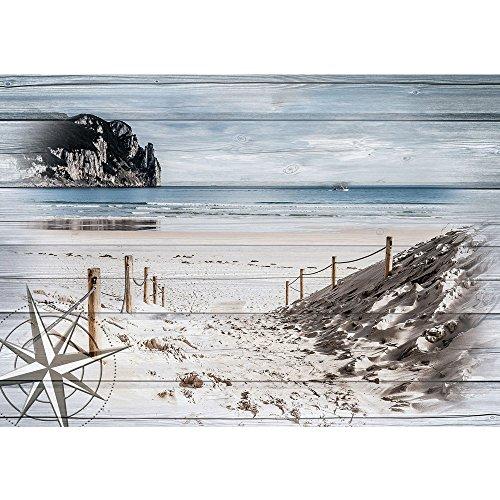 Vlies Fototapete PREMIUM PLUS Wand Foto Tapete Wand Bild Vliestapete - Sand Küste Windrose Felsen Kutter - no. 3182, Größe:416x254cm Vlies