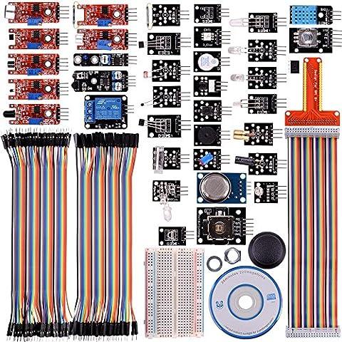 Compatible Raspberry Pi 3 2 Model B B+ A A+ 38 modules Senseurs Kit,44 composants Kuman K47