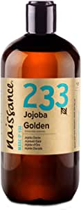Naissance Cold Pressed Golden Jojoba Oil (no. 233) 500ml - Pure & Natural, Unrefined, Vegan, Hexane Free, No GMO - Ideal for Aromatherapy and as a Massage Base Oil
