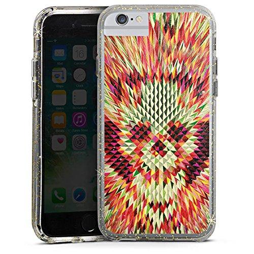 Apple iPhone 6s Bumper Hülle Bumper Case Glitzer Hülle Geo Skull Totenkopf Skull Bumper Case Glitzer gold