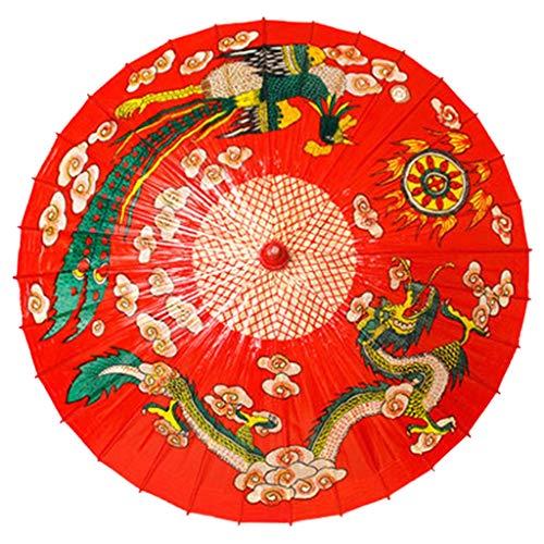 Stockschirme Regenschirm Klassisches Drachen Und Phoenix Öl Papier Rot Traditionelle wasserdichte Handgemachte Innendekoration Chinesisches Immaterielles Kulturerbe Gerade Griff Regenschirm