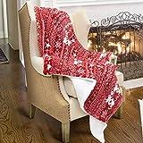 Catalonia Kuscheldecke Weihnachten SHU Velourssamt Lammfell flauschig Überwurf Decke, wendbar Weich warmen Decke für Bett Sofa, 155 x 127 cm