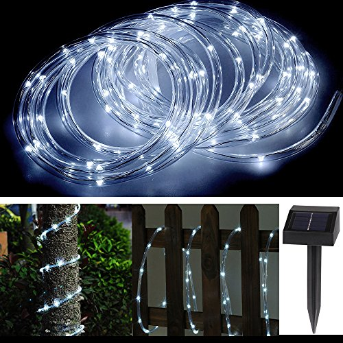 Solar rope lights amazon lemonbest waterproof solar rope lights 100 leds 12 v daylight white portable with light sensor outdoor rope lights perfect for christmas wedding mozeypictures Choice Image