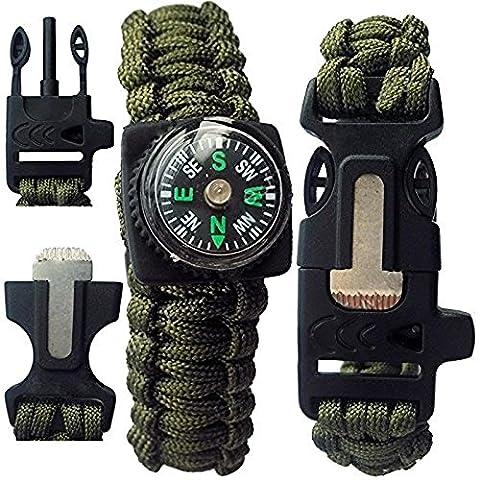 Sijueam Multi-fonctionnel Bracelet de Survie Paracorde 600lbs Tressage Boussole Allumé-feu Sifflet Boucle Corde pour Randonnée Nautisme Chasse Camping Escalade - Vert