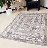Teppich waschbar und rutschfest für Küche, Bad und Flur in Grau mit Versace Muster Kelim Kilim Oberfläche hochwertige Webung schadstoffgeprüft (80cm x 150cm)