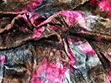 Spitze Applikation Crinkle Tie Dye Satin Kleid Stoff pink &
