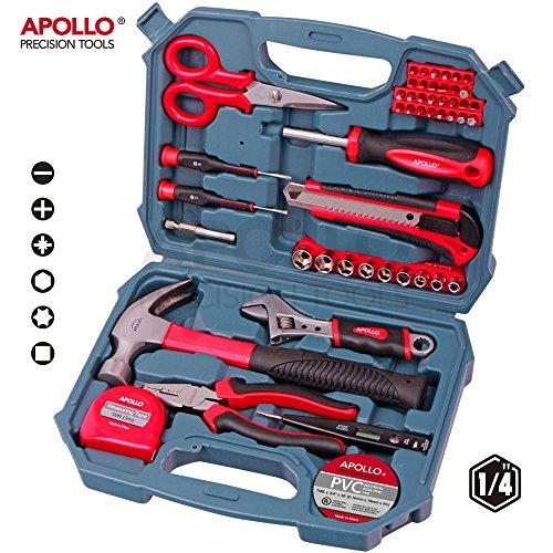 Apollo Set de herramientas de 49 piezas, para casa, oficina y garaje,