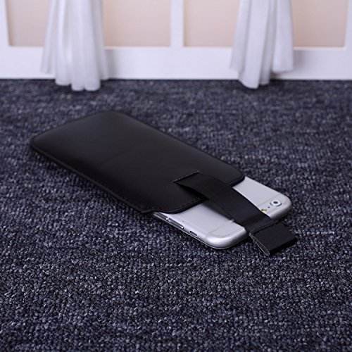 ekinhui Fall Cover NEU Farbe Premium Stylish Kunstleder Pull Tab Pouch Skin Schutzhülle für iPhone SE 5S 66S Black