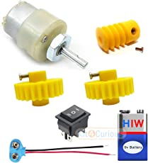 Geared DC Motor + Worm-Spur Gear Set with DPDT Switch Complete Set