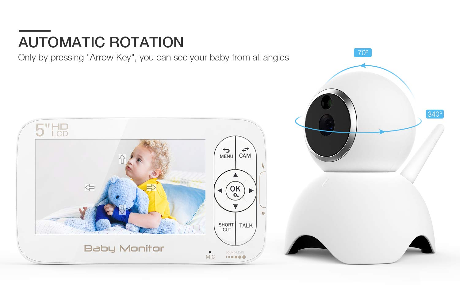 Baby Monitor, BOIFUN Baby Video Camera with 5'' 1280x720P HD Screen 2000mAh Rechargeable Battery with VOX Night Vision Temperature Monitor Two-Way Talk 355 Degree Remote Control Camera Baby/Elder/Pet BOIFUN Sleep Mode & Night Vision----In Sleep mode, The screen on the mother unit is black. Screen will light up when baby starts crying. Night vision distance is 5 meters, so you will never miss any moment of your baby, and it frees yourself from the hustle and bustle. You will be able to have your own time to read, watch TV, or even enjoy a couple of drinks with your husband. Bring you lots of fun. 2000mAh Battery----2000mAh high-capacity battery (mother unit), lasts up to 6 hours with full functions, and 20 hours in sleep mode, from testing results. Let you have longer time get rid of the shackles of the wires. Bring you longer time of fun. 300Meters Extra-Large Range----300m signal coverage area (outdoor test) allows you to cook happily downstairs, enjoy the sun in the pool, or even have a relaxing BBQ time with friends in terrace. Bring you bigger fun. 4