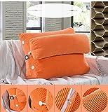 VERCART Kissen Rückenkissen Lesen Kopfkissen Nackenrolle Hals für Sofa Bett Rückenlehne Keilkissen Keilförmiges Stützkissen Weiches Erwachsene Abnehmbar Orange 60x50x25cm