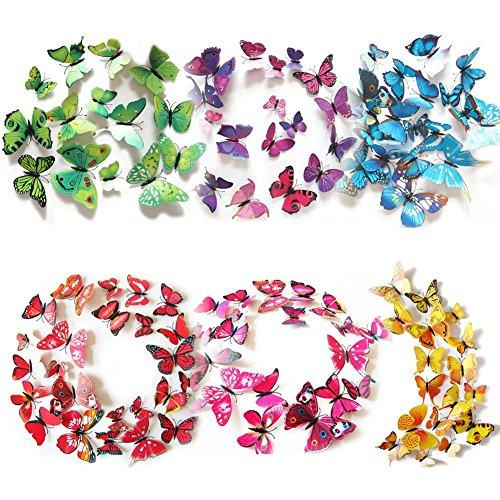 3D Schmetterling Aufkleber Wandsticker Wandtattoo Wanddeko für Wohnung, Raumdekoration Klebepunkten+ Magnet (72 Stück in 6 Farbe 12 Gelb+12Grün +12 Lila +12 Rosa +12 Blau+12 Rot) (Die Fliege In Der Masse)
