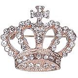 FENICAL Mujeres Corona Broche Cristal Rhinestone Broche Pin Aleación Breastpin Ropa Adorno para Mujeres Damas niñas Nupciales