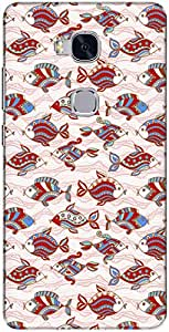 The Racoon Grip printed designer hard back mobile phone case cover for Huawei Honor 5x. (Red Orname)