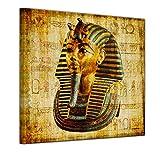 Wandbild - Pharao - Ägypten - Bild auf Leinwand - 40 x 40 cm - Leinwandbilder - Bilder als Leinwanddruck - Städte & Kulturen - Afrika - altes Ägypten - Pharaonenmaske