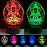 Farbe Des Buddha 7, Welche Die Nachtlampe 3D-Umgebung Ändert, Die Visuelle Illusion Des Herzens Led Für Kinder Spielzeug Weihnachtsgeburtstagsgeschenke Aufbauscht