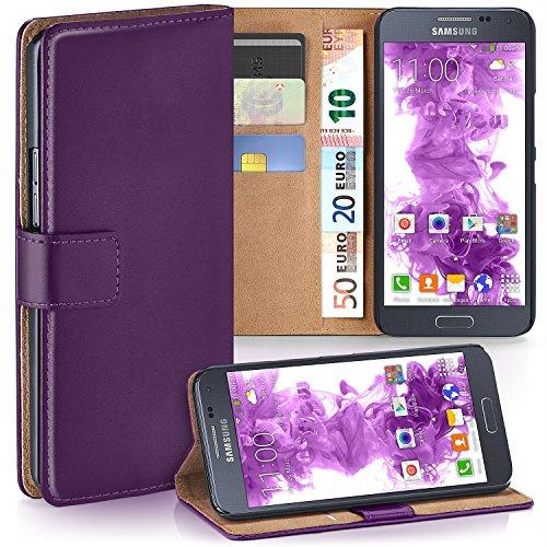 moex Samsung Galaxy Alpha   Hülle Lila mit Karten-Fach 360° Book Klapp-Hülle Handytasche Kunst-Leder Handyhülle für Samsung Galaxy Alpha Case Flip Cover Schutzhülle Tasche