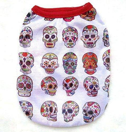 Heelinna Gemütlich Haustier Hundebekleidung Halloween Bunte Schädel Ghost Weste T-Shirt für Halloween Bekleidung-Gesicht Ghost M (Halloween Ghost Gesichter)