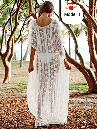 ... esen-fa Sexy Lose Spitze siehe durch Beach Cover up Badebekleidung  Cardigan lang Strand Kleid ...