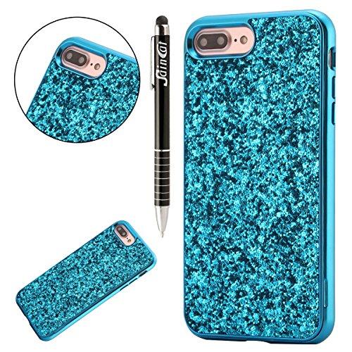 Coque iPhone 6, iPhone 6S Coque Glitter Silicone, SainCat Ultra Slim Silicone Case Cover pour iPhone 6/6S, Coque Bling Glitter Paillette Anti-Scratch Soft Gel TPU Cover Coque Caoutchouc Transparent Si Bleu