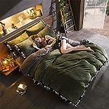 SedBed Bett ausgestattet, Vier Stück Cashmere Crystal Coral Cashmere Flanell Bettwäsche Dicke warme Winter 1,8 m Bett, Militär, grün, 1,8 m (6 Fuß) Bett