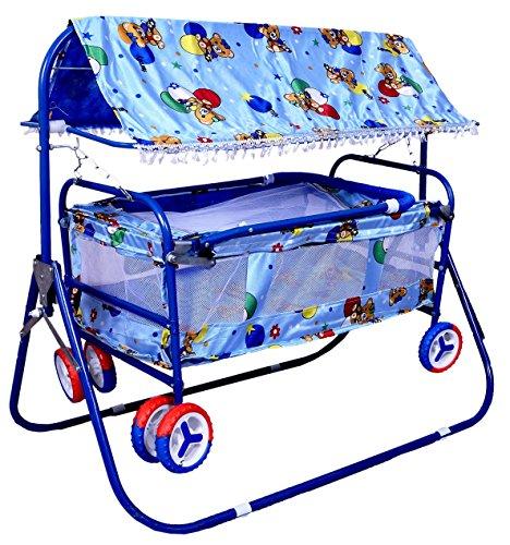 BabyGo Baby Cradle Cot Cum Stroller Eva Wheel (Blue)