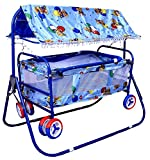 #2: BabyGo Baby Cradle Cot Cum Stroller Eva Wheel (Blue)