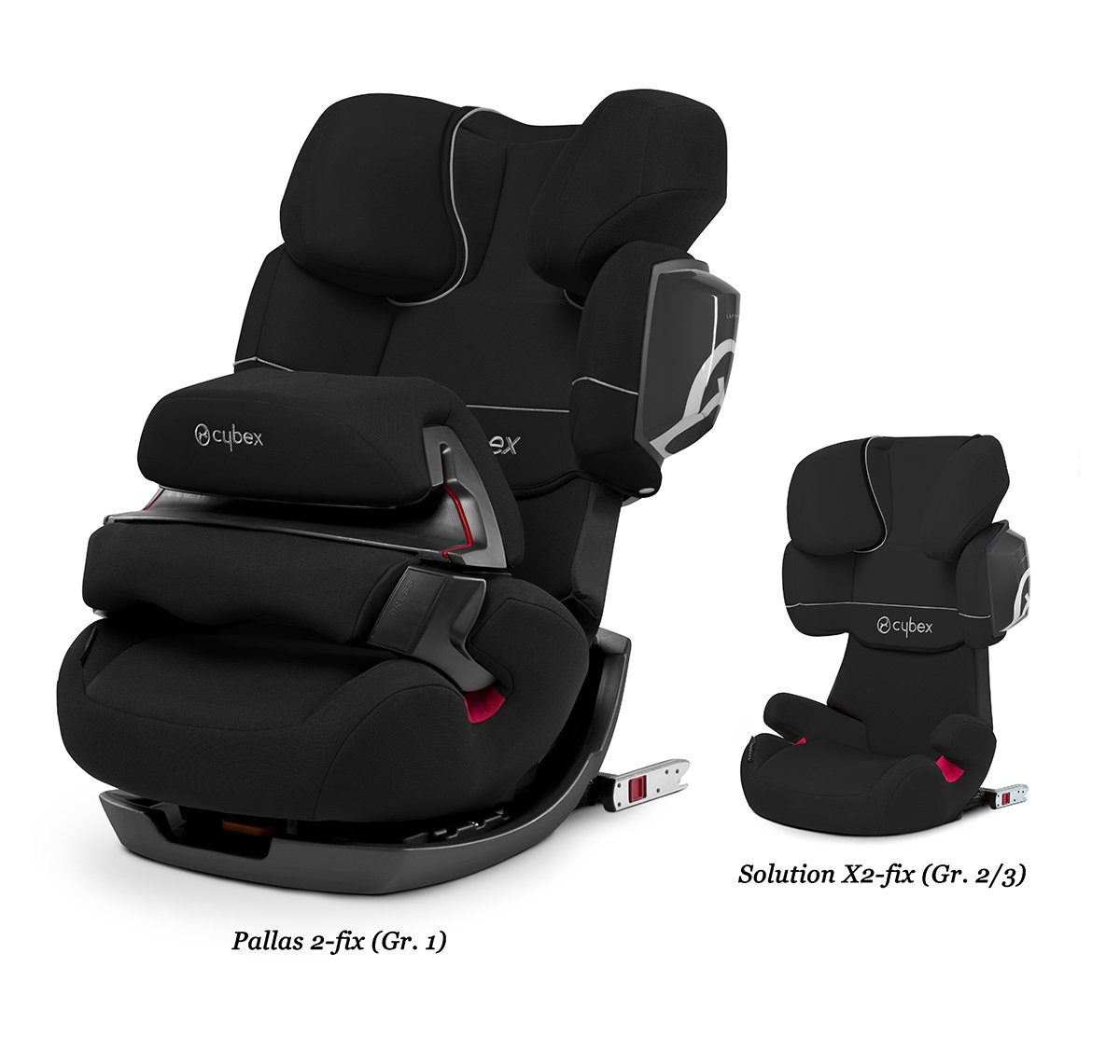 CYBEX Silver Pallas 2-Fix 2-in-1 Child's Car Seat, For Cars with and without ISOFIX, Group 1/2/3 (9-36 kg), From approx. 9 Months to approx. 12 Years, Pure Black  Adjustable safety cushion: More comfort and freedom of movement 2-in-1 seat: Can be used for up to 11 years 2