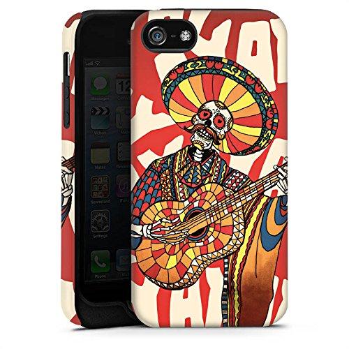 Apple iPhone 4 Housse Étui Silicone Coque Protection Mariachi Tête de mort Guitare Cas Tough terne