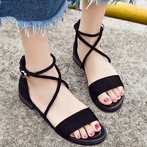 Das Mädchen im Sommer Sandalen Gurt flache Schuhe, schwarz, 47 Studenten.