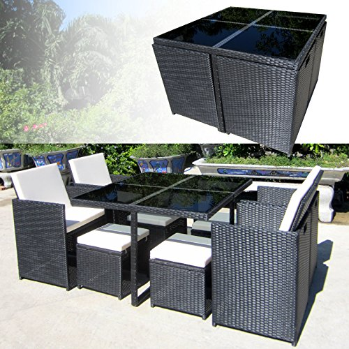 FLORIDA Poly Rattan Schwarz Sitzgruppe Gartengarnitur Essgruppe Gartenmöbel Lounge Cube