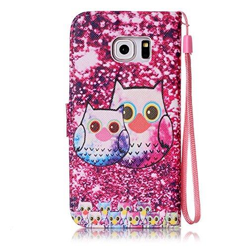 Samsung Galaxy S7 custodia a portafoglio [con protettore schermo gratuito], Mo-beauty ® Samsung Galaxy S7 Premium custodia a portafoglio, in pelle PU Full Body design stile design Flip magnetica stacc Cute owl