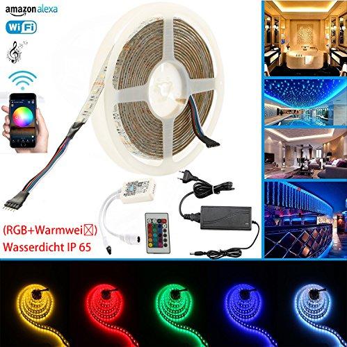 Preisvergleich Produktbild RGBWW IP65 LED Streifen Arbeitet mit Alexa,  Google Home,  IFTTT,  Wifi Wireless Smart Phone Gesteuert Led Strip 5m Lichterkette LED Band Lichtleiste Leiste Full Kit