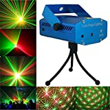 A To Z Traders®, Multi Pattern Sound Activated Laser Mini Disco Light Projector Stage Lighting for Party + 1 Hand Shape LED Keychain
