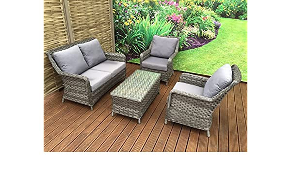 32fd3f169d6b homeflair Rattan Garden Furniture Mia grey 2 seater sofa + Dining table +  stool: Amazon.co.uk: Garden & Outdoors