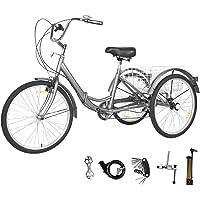GNEGNIS Dreirad für Erwachsene, 7 Gänge, 3 Räder, Aluminiumrahmen, zusammenklappbar, mit Einkaufskorb für Erwachsene und…