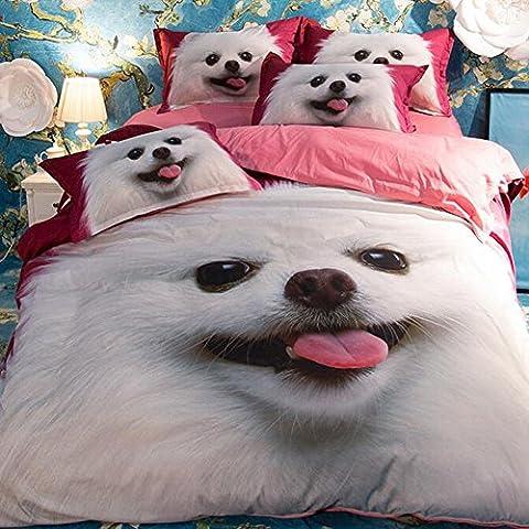 Lovely Pet Hund Bettwäsche Sets–memorecool Haustierhaus 100% Polyester reaktiver Druck Bettlaken und Bettbezug Twin 3Stück pink ab Version, Polyester, Dog and Flat, Volle Größe