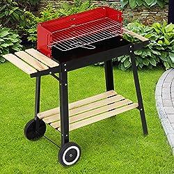 Broil-Master Barbecue Grill A Carbone con Carrello, Colore Nero/Rosso, 83 x 77,5 x 39,5 cm