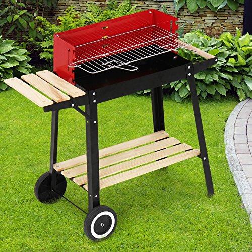 broil-master BBQ Holzkohlegrill | mit Rollen und Feuerbox, aus Stahl, Schwarz | Smoker, Holzkohle Grillwagen, Grillstation, Barbecue Grill, Kohlegrill