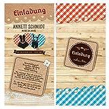 Einladungen (40 Stück) – Dirndl und Lederhose - Oktoberfest Frühschoppen Geburtstag Einladungskarten