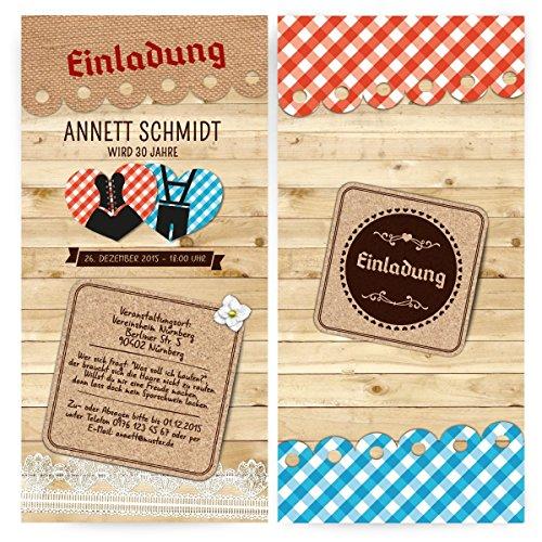 Einladungen (30 Stück) - Dirndl und Lederhose - Oktoberfest Frühschoppen Geburtstag Einladungskarten
