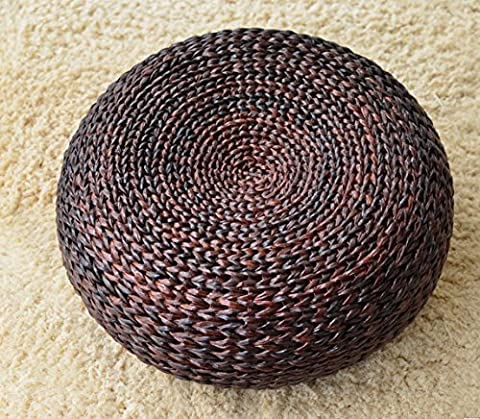 Straw futon cushion thick round rattan tatami yoga mat flooring sitting Tun 50*17cm (there are other size), dark