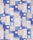 Badvorleger, Aquamat Antirutsch Matte, Bodenbelag, Bad Garten Küche, 100x65 cm, Länge wählbar, Rechteck Kreise Creme Blau